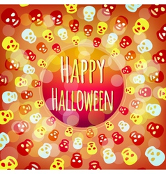Orange halloween background with colorful skulls vector