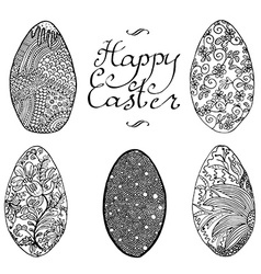 Ornamental hand drawn sketch of easter eggs in vector