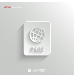 Passport icon - white app button vector image