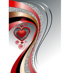 Pattern of hearts with bright curved strips on whi vector image