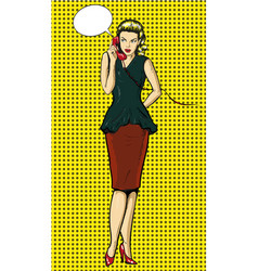 pop art woman talking on vector image