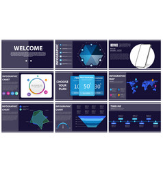 Presentation template blue and black infographic vector