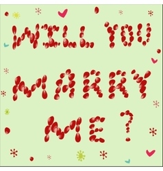 Proposal to marry him of rose petals on a green vector