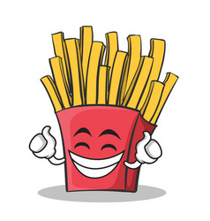 proud face french fries cartoon character vector image