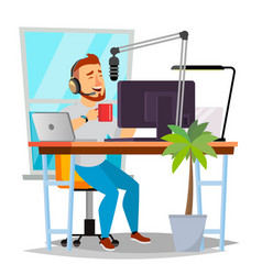 Radio dj man broadcasting modern radio vector