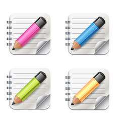 realistic notepad icon with pencil icon vector image