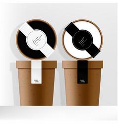 Recycled kraft paper jar or cup packaging vector