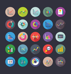 reports and charts flat icons vector image