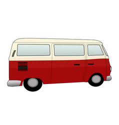 retro camper van on white background vector image