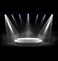 Round podium empty stage illuminated spotlight vector