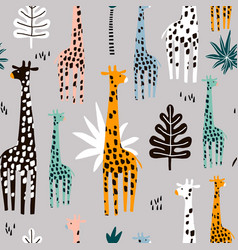seamless pattern with giraffe palm branch and vector image