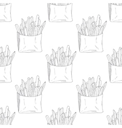 Seamless pattern with hand drawn french fries vector image