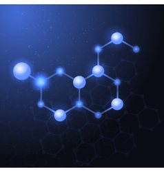 Serotonin molecule structure background vector