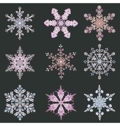 Set hand-drawn doodles color snowflake entangle vector