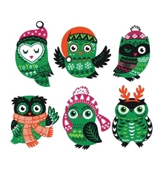 Set of funny owls for winter design vector