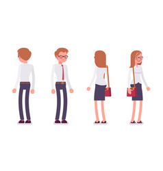 set of male and female clerk standing rear front vector image