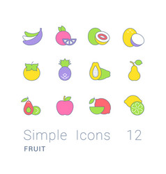 set simple line icons fruits vector image