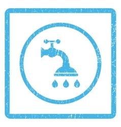 Shower tap icon rubber stamp vector