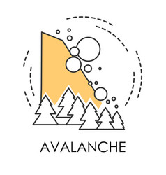 Snowslide or avalanche natural disaster isolated vector