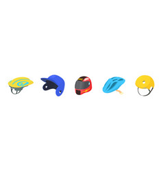 Sport helmet icon set cartoon style vector