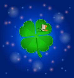 St patricks shamrock and hat into space vector