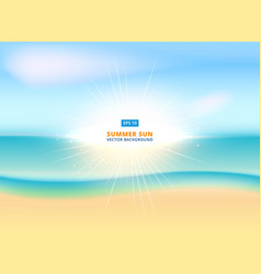 sunny sparkling background with sandy beach vector image