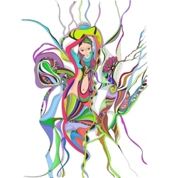 Surreal hand drawing girl dancing belly dance vector