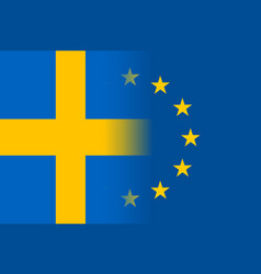 Sweden national flag with a star circle of eu vector