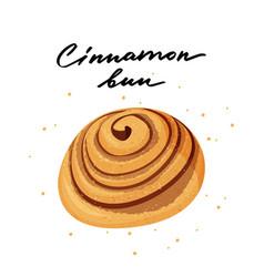 Tasty cinnamon bun with hand vector