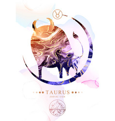 Taurus zodiac sign with alcohol ink texture vector