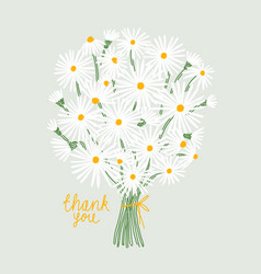 thank you card with bouquet daisies vector image