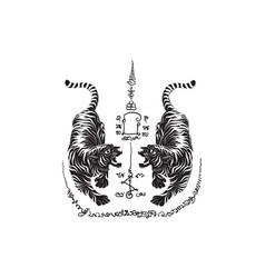 tiger thai tradition tattoo vector image