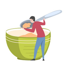 Tiny man holding huge spoon and eating cereal out vector