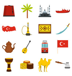 Turkey travel icons set in flat style vector