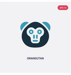 two color orangutan icon from animals concept vector image