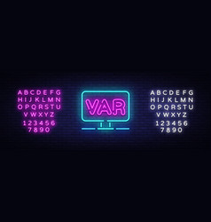 video assistant referee neon sign soccer vector image