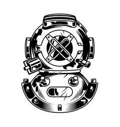 Vintage diving helmet concept vector