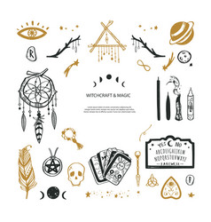 Witchcraft magic background for witches and vector