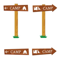 Wooden camping sign vector