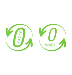 zero waste trendy green logos signs symbols vector image