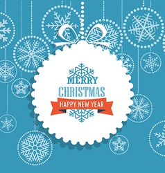 Christmas greeting card with snowflakes on backgro vector image vector image