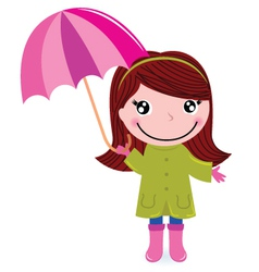 Cute little girl with Umrella in rain vector image vector image