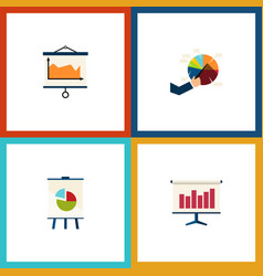 flat icon chart set of diagram graph easel and vector image vector image
