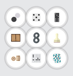 flat icon games set of chequer pawn multiplayer vector image vector image