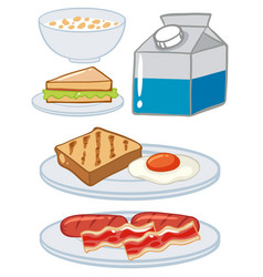 Set of breakfast with egg and milk vector