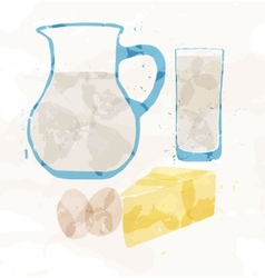 Set of dairy products from multi-colored spots vector image vector image