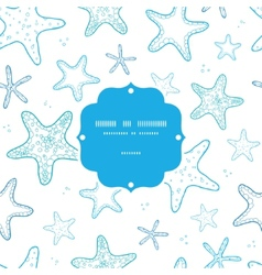 Starfish blue line art frame seamless pattern vector image
