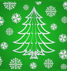 white paper christmas tree on the green vector image