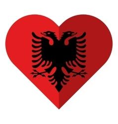 Albania flat heart flag vector image vector image