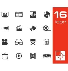 black cinema icon set on white background vector image vector image